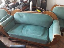 Biedermeier kanapé 2db fotellal