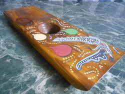 Italtartó bortartó asztali fa krokodilos kézműves 28*9*2 cm