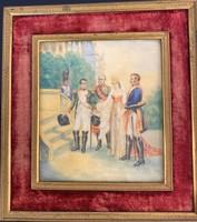 I. Napoleon friancia császár és Mária Lujza császárné társaságban, díszfesték, elefáncsont - F095