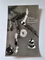 Retro karácsonyfadíszes habkarikás képeslap