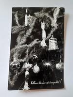 Retro karácsonyfadíszes csillagszórós képeslap 1961