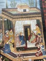 Mughal császár Indiai selyemre festett kép