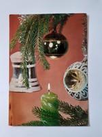 Retro karácsonyfadíszes képeslap