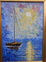 Vén Emil (1902-1984) Naplemente,Rudnay tanítvány, Munkácsy-díjas művész alkotása, olaj-farost
