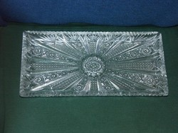 Különleges mintázatú, csiszolású nagyméretű ólomkristály tortás-tál