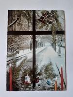 Retro karácsonyfadíszes képeslap 1980