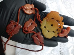 Ásvány ékszer, nyaklánc, jáde színű halas faragott kő jade tone gemstone necklace