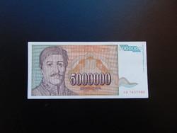 5 millió dinár 1993 Szép ropogós bankjegy 01