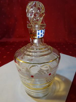 Német pálinkás üveg, dugóval, arany díszítéssel. magassága 16,5 cm.
