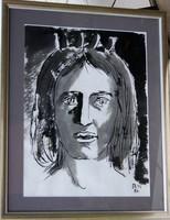 Borsos Miklós: Királylány, 1986 - egyedi tus, keretezve