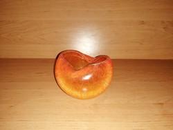 Gyönyörű narancssárga Karcagi fátyolüveg hamutál (14/d)