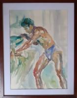 KOVÁCS KÁLMÁN - akvarell  kerettel 54x67 -  emberábrázolás, férfi, vízfestmény kortárs, modern
