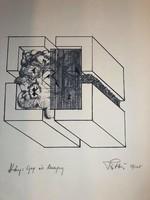 """PÁTKAI ERVIN (1937-1985 Párizs )""""Szita"""" Ady mappából kiadva 1977 Párizs 39/125db """"Góg és Magóg"""""""
