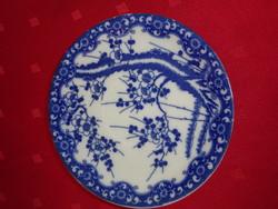 Japán porcelán, cseresznyevirágos teáscsésze alátét, átmérője 14 cm.