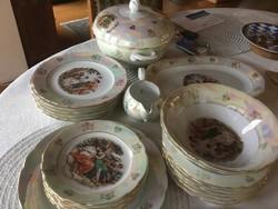 Kahla étkészlet, antik, 6 személyes, vitrin állapot