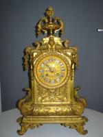 Aranyozott, nehéz bronz asztali óra, eredeti,kiváló állapotban (1865 körüli)