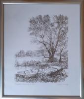 KOVÁCS KÁLMÁN: Szigetközi litográfiák - 56x68 vízparti tájkép kőnyomat 2003  - kortárs, modern