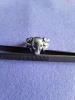 Antik ezüst Memento Mori ezüst gyűrű, gyémánt szemekkel!