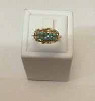 Eladó női 18 k.  sárga arany gyűrű türkiz kövekkel!