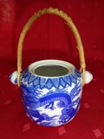 Japán porcelán fonott fülű cukortartó, alsó átmérője 8 cm.