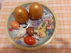 Húsvét - tál, tojások, felakasztható díszek, pici kerámia nyuszi, horgolt tojás, tojástartó