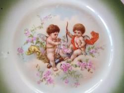 Antik csehszlovák puttós, angyalos tányérok 2 db