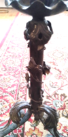 Antik kovácsolt vas 63 cm magas indás, leveles , virágos asztali állólámpa