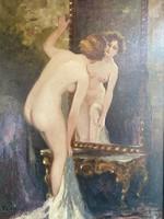 Czencz János: Törölköző Nő tükör előtt