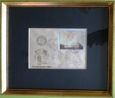 Szász Endre bélyeg, elsőnapi bélyegzővel + tusrajz, aláírás