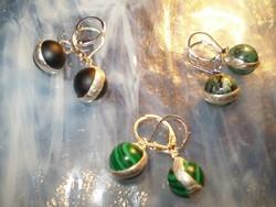 ÓNIX, MALACHIT, RUBIN-ZOZIT foglalatos 925-ös franciakapcsos fülbevalók egy áron