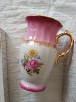 Gyönyörű cseh, rózsaszín, virágos Haas & Czjzek porcelán bögre eredeti dobozában