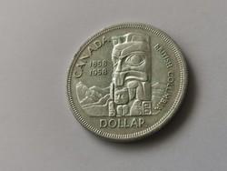 1985 Kanadai ezüst 1 dollár 23,3 gramm 0,500-Totem