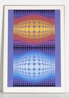 Vasarely nagyméretű szitanyomat 74,5 x 107,5 cm