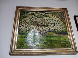 Olvashatatlan szignós olaj vászon festmény! Virágzó fa!
