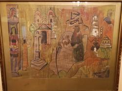 Bortnyik Sándor Templomteret ábrázoló festmény paszpartuban üvegezve