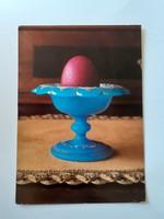 Retro húsvéti képeslap üvegkelyhes levelezőlap