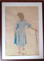 KOVÁCS KÁLMÁN: Kékruhás nő (akvarell 51x70) emberábrázolás, nő, vízfestmény kortárs, modern