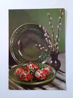 Retro húsvéti képeslap 1979 kerámiás levelezőlap