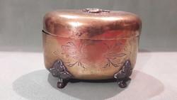 Antik cukorka tartó réz doboz