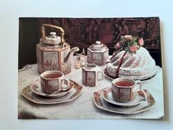 Retro karácsonyi képeslap ünnepi asztal