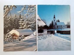 Retro karácsonyi képeslap havas táj templom 2 db