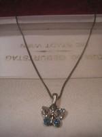 N18 Ékköves filigrán 1 cm -es  pillangó díszes  41 cm hosszú ezüstözött nyak  láncon eladó