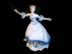 E_003 Wallendorf jellegű nagy méretű nagyon szép táncoló balerina, kék ruhában Veritable porcelán