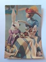 Retro húsvéti képeslap 1963 bábjátékos levelezőlap