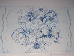 Ábrahám Rafael (1929 - 2014)  Orchideák  technika: színes rézkarc, szignált  10 x 17 cm