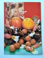 Retro karácsonyi képeslap 1985 szaloncukros