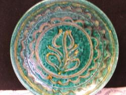 Népi zöld mázas kerámia falitál