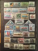 35 darab hajót ábrázoló bélyeg különböző országokból .