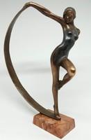 """Czobor Sándor """"Lány szalaggal"""" c. bronzszobor, eredetiségigazolás, ingyen posta"""