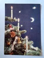 Retro karácsonyfadíszes Konzum szaloncukros képeslap